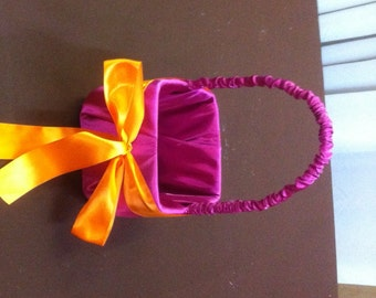 Hot Pink with Bright Orange Bow Flower Girl Basket
