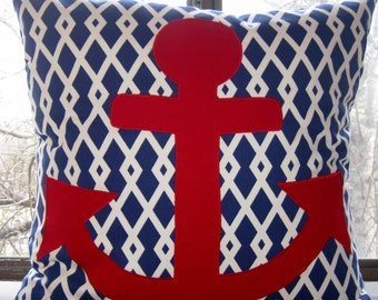 Anchors away red White Graphic blue pillow cover  16 X 16