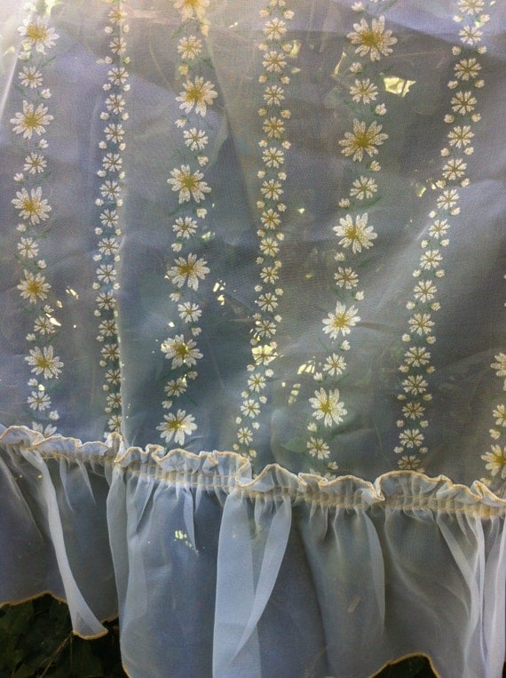 items similar to sheer kitchen curtains with white daisies
