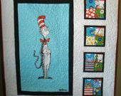 Dr. Seuss Cat in the Hat Crib or Lap Quilt Quilt using Robert Kaufman fabric