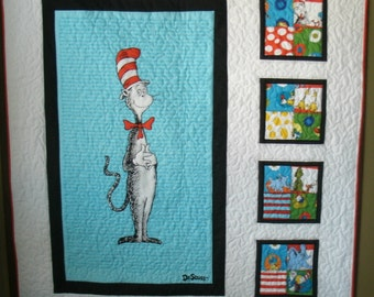 Dr. Seuss Cat in the Hat Crib or Lap Quilt Quilt using Robert Kaufman fabric