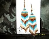 Brown Blue White n Gold Earrings