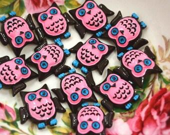 Resin Owl Cabochons 3 pcs - Cute Pink Miniature Cabochon - Flat back Charm