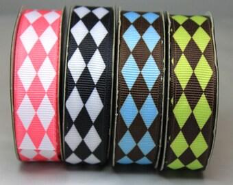 "Harlequin Ribbon 3/4"" Dog Collar Size XS, S, M, L"