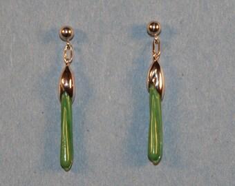 Leaf Bud Earrings in Variscite and Sterling