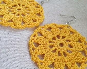 Crocheted Yellow Sunburst Earrings