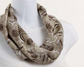 Infinity Scarf, Loop, Circle Creamy Tan, White and Brown Floral Design ~ SH177-S1