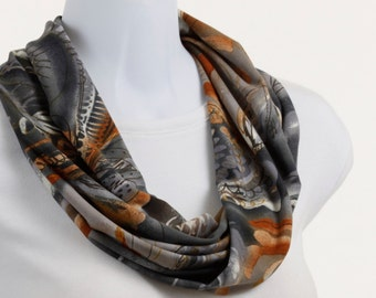 Orange Gray Taupe Goldenrod Floral Scarf Earthtones Infinity Scarf ~ K069-S5