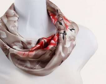 Infinity Scarf Rose Red, Taupe, and White short Floral ~ SK054-S5