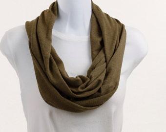 Long Infinity Scarf - Olive Green Cozy Knit ~ K034-L1
