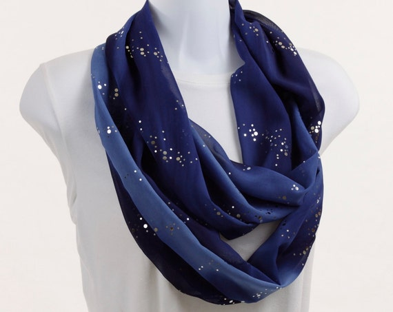 Dazzling Sapphire Blue Infinity Scarf with Silver Bling ~ SH007-L1