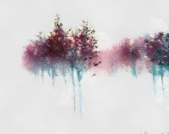 Red Trees in Fog