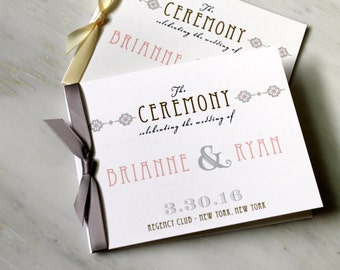 """Elegant Ceremony Programs, Small Wedding Ceremony Booklet with Ribbon Bow, Gold, Gray and Pink - """" Art Deco Love"""" Ceremony Program Deposit"""