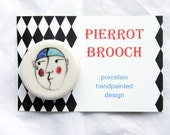 Pierrot brooch-hand painted porcelain harlequin-blue and turquoise