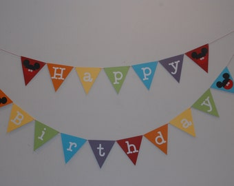 Mickey Mouse Birthday Banner, Mickey Mouse Rainbow Banner
