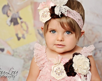 Strawberry PInk and Chocolate Brown Ivory Rosette Lace Headband Photography Prop
