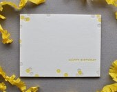 confetti letterpress birthday card