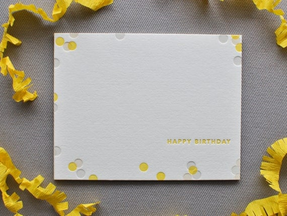 confetti letterpress birthday card