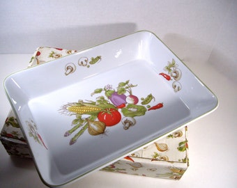 Thanksgiving Harvest Lasagna Casserole Vintage Rosenthal Netter Vegetable Collection Japan 1982