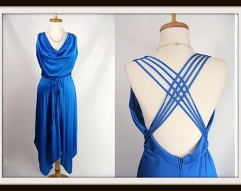 vintage 80s SexySummer Blue Strappy Ties Draped Cowl Neck Hankie Hem Disco Club Dress S M Costume
