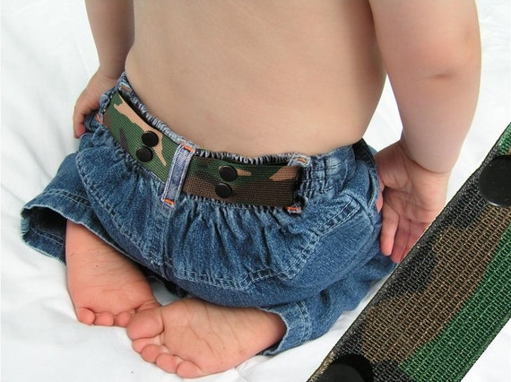 "Toddler Belt - Elastic Snap Belt - ""Camouflage"""