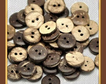 Brown Coconut Shell Buttons Low shipping (20 Pack)