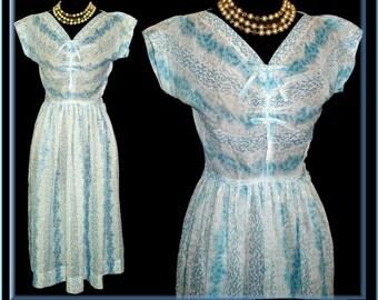 Sheer 1950s Dress  .  Designer  ,  Aqua .  Beautiful Garden Party Wedding Couture Feminine