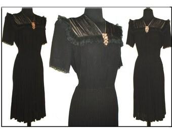 Vintage 1940s Dress . Black  Art Deco Garden Party Swing Jive Dress Clip Bombshell Pinup Cocktail Career Steampunk Designer
