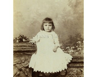 Cabinet Card Girl | Victorian Children's Fashion | Vintage Photograph | White Lace Scalloped Dress