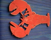 "Big Lobster Sign Coastal Wall Decor Wooden Lobster Wall Art 34"" x 17"" Nautical Decor"