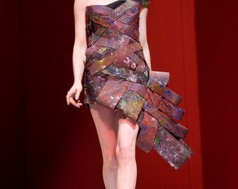 Avante Garde Colorful asymmetrical Hand Painted Dress