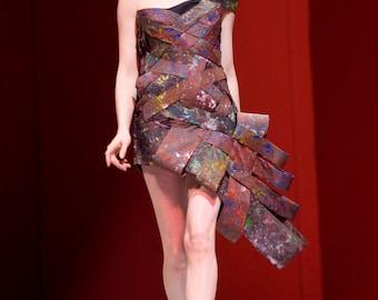 Avante Garde Colorful asymmetrical Hand Painted Dress