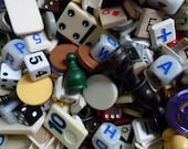 40 vintage mix game parts and pieces - assorted - for assemblage and other art projects - destash - game pieces