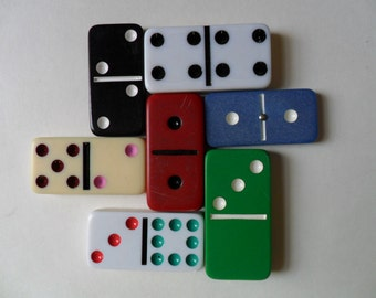 7 dominoes . retro games . vintage dominoes . distressed dominoes . colored dominoes . dominoes for altering . altered dominoes . collect