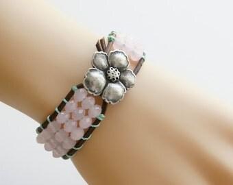 Hibiscus Cuff Bracelet Leather Cuff Bracelet Friendship Bracelet Leather Bracelet Wrap Bracelet Beaded Bracelet Beach Bracelet Beach Jewelry