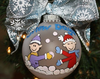 Handpainted Glass Personalized Ornament Snow Days Stick Figure People in a Snowball Fight