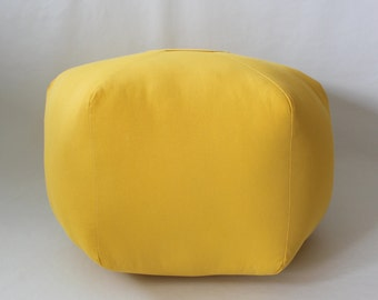 "24"" Ottoman Pouf Floor Pillow Solid Yellow"