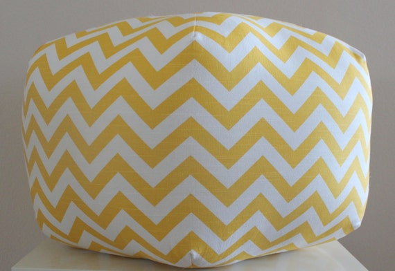 "24"" Pouf Ottoman Floor Pillow Yellow Chevron Zig Zag"
