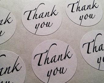 """60 Thank You- round labels/seals - seal 1"""" (white or kraft)"""