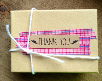 """20 """"Thank You"""" kraft labels/seals with leaves """"feathers like""""- return address size"""