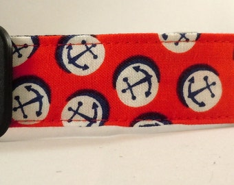 Dog Collar, Martingale Collar, Cat Collar - All Sizes -  Anchors Away in Red