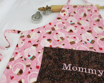 Personalized Mommy Tossed Cupcakes Adult Apron - Ready to Ship