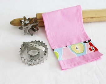 Retro Apples and Pears Child Size Toy Dish Towel for pretend play