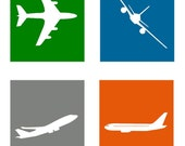 """Aviation Art // Airplane Art for Kids Rooms // Aviation Nursery // Aviation Theme // Airplane Nursery Art // Set of 4-8x10"""" PRINTS ONLY"""
