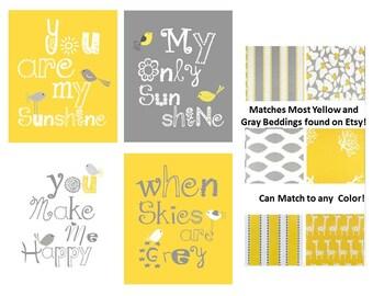 Yellow and Gray Nursery Art Prints, You are my sunshine prints with little birds chicks, 4-5x7 prints, nursery, or playroom, o