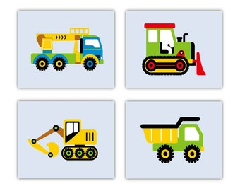 "Construction Nursery Art // Construction Decor // Construction Art for Kids // Vehicle Art // Car Art  4 piece 8X10"" PRINTS ONLY"