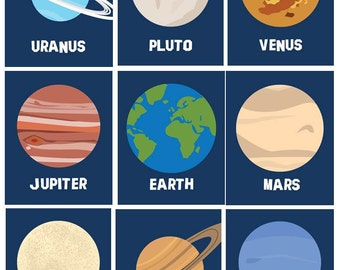 Art For Boys And Girls Planets Room Decor Solar System Planets Wall