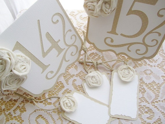 Vintage Inspired BLANK Place Setting Tags - Ivory and White w/ Ivory/Cream Rosettes
