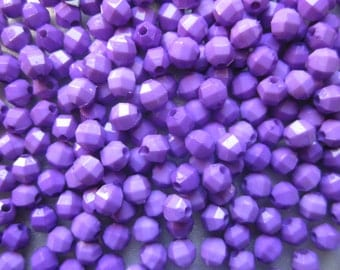 SALE - Purple Acrylic Beads 6mm 24 Beads