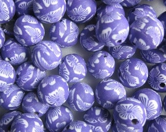 Purple Polymer Clay Beads 10mm 20 Beads